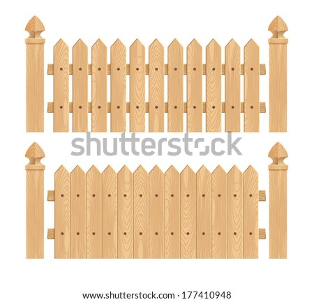 Wooden fence with columns - light wood.