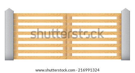 Wooden fence with concrete columns on a white background. Gates. Vector illustration.  - stock vector
