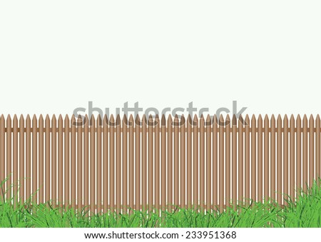 wooden fence with grass in the foreground and a  light background - stock vector