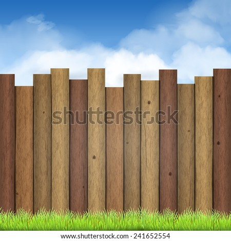 wooden fence with green grass and blue sky background - stock vector