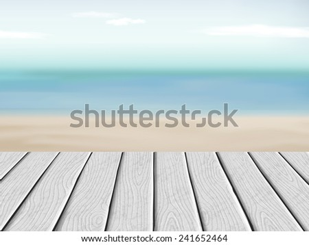 wooden floor with blurred beach and blue sky scenery - stock vector