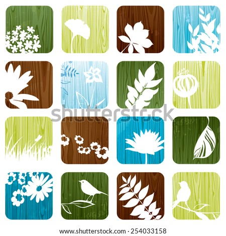 Wooden floral icons in square shape. All objects are smartly grouped. - stock vector