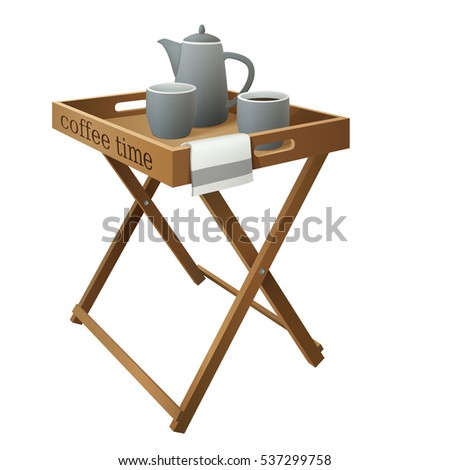 Wooden Folding Butler Tray Coffee Table With Grey Cups, Pot And White Cloth  Isolated On