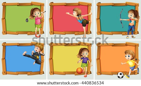Wooden frame design with may sports illustration