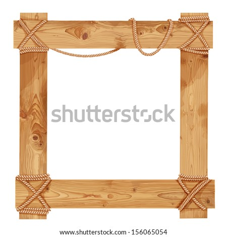 Wooden frame fastened together with ropes - stock vector