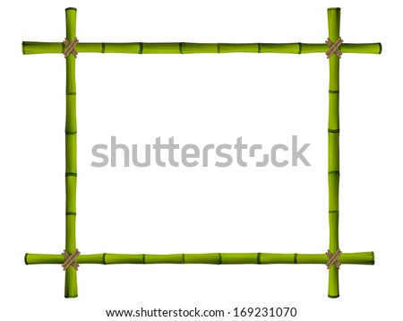 Wooden frame of old bamboo sticks. Vector illustration - stock vector