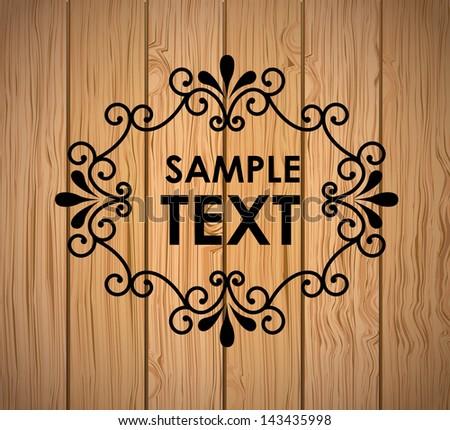 Wooden frame over vintage background vector illustration - stock vector