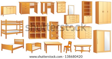 Wooden furniture set: commode, bookshelf, dresser, bunk, bed, cot, shoe case, chair, table, desk, wardrobe. Vector illustration - stock vector