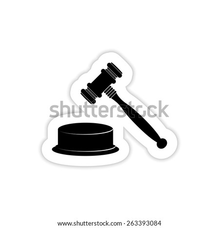 Wooden gavel on a white background with shadow - stock vector