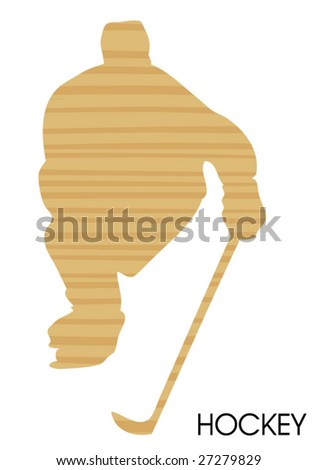 wooden hockey poster - stock vector