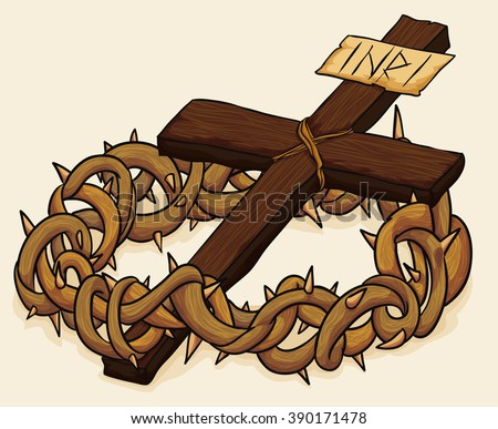 Wooden Holy Cross with a crown of thorns for Good Friday in beige background. - stock vector