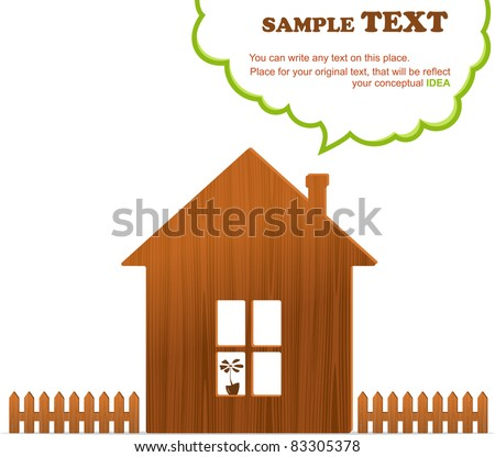 Wooden home, fence and cloud, vector illustration - stock vector