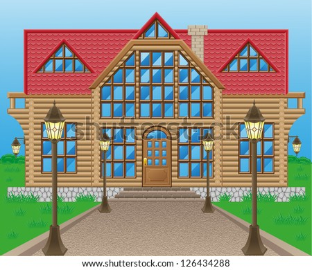 wooden house vector illustration isolated on nature - stock vector