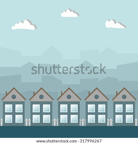 Wooden Houses, City Haze Background