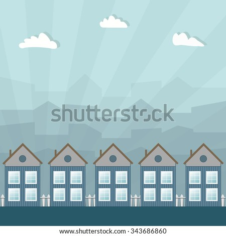 Wooden Houses, City Haze Background And Rays Of Light