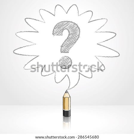 Wooden Lead Pencil with Reflection Drawing Question Mark in Rounded Starburst Speech Bubble Grey Background