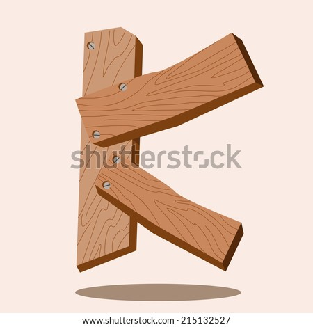 Wooden letters and symbols,letters K,vector