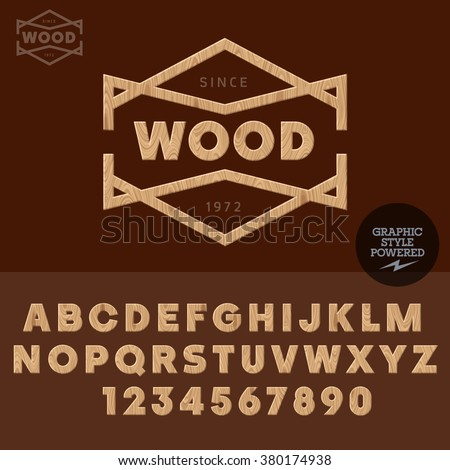 Wooden logotype wood work and shop. Vector set of letters and  numbers - stock vector