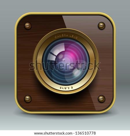 Wooden luxury photo camera icon, vector illustration. - stock vector