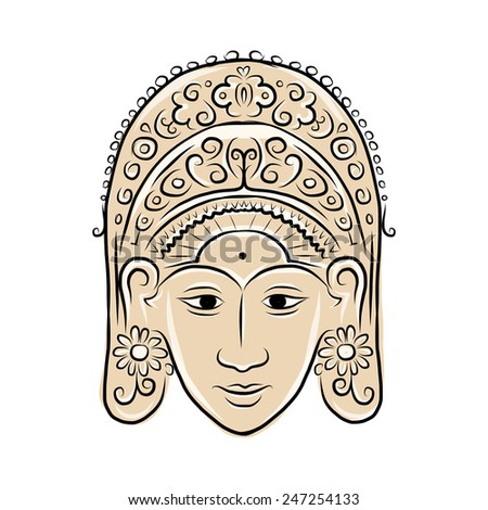 Wooden mask of indonesian dancer woman, sketch for your design. Vector