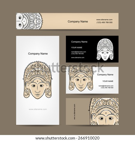 Wooden mask of indonesian dancer woman, sketch for your design. Vector - stock vector