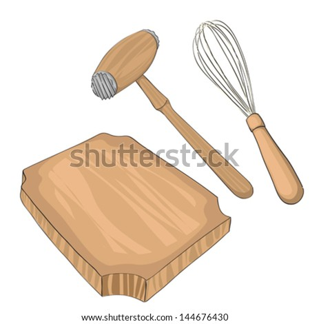 Wooden meat tenderizer on a cutting board and a whisk, hand drawn objects isolated on white - stock vector