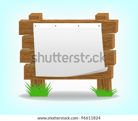 Wooden message board, 10eps. - stock vector