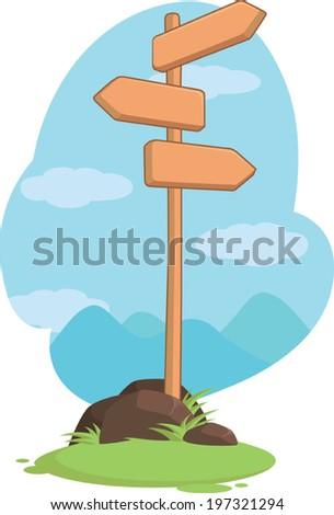 Wooden Mountain Guidepost Sign - stock vector