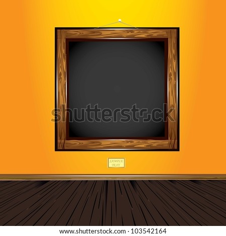 wooden old vintage frame on orange wall. vector illustration.