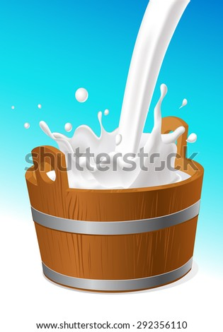 wooden pail with milk pour isolated on white - vector illustration - stock vector