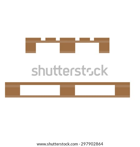 Wooden pallet vector illustration. Wooden stock icon. Pallet side and front view - stock vector