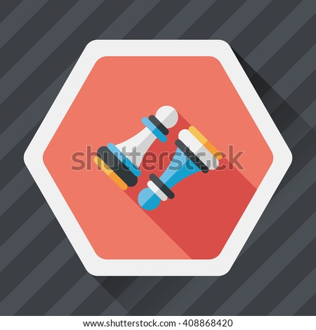 Wooden Pawn Chess flat icon with long shadow,eps10 - stock vector