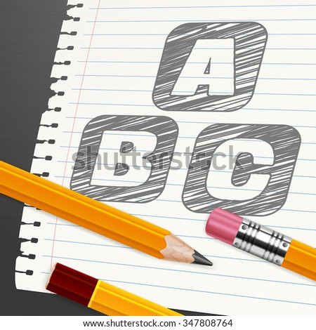 Wooden pencils and letters symbol on paper sheet, vector illustration - stock vector