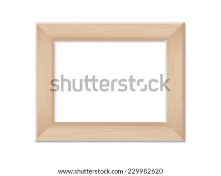 Wooden photo frame with area for copy space on white background. Vector illustration. - stock vector