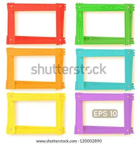 Wooden picture frames color set for your web design - stock vector