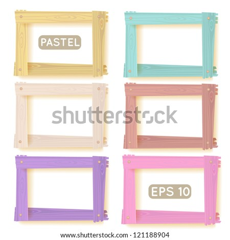 Wooden picture frames pastel set for your web design - stock vector
