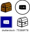 wooden pirate treasure chest illustration, sign and symbol - stock photo