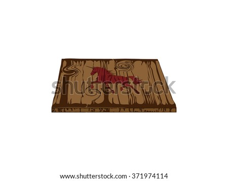 wooden plank horse  on white