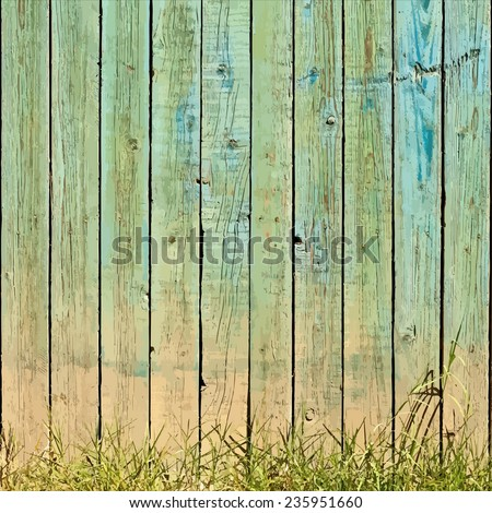 Wooden Planks And Grass Background. EPS10 vector. - stock vector