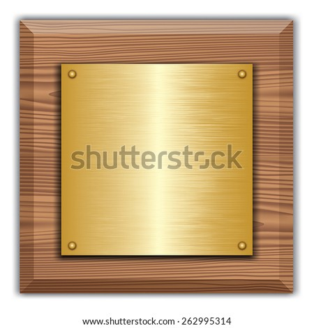 Wooden plaque with gold or brass plate isolated on white. Vector illustration