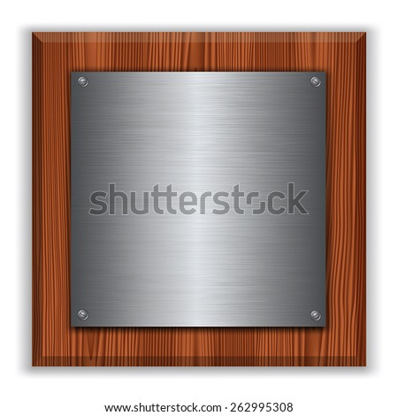 Wooden plaque with metal plate isolated on white. Vector illustration