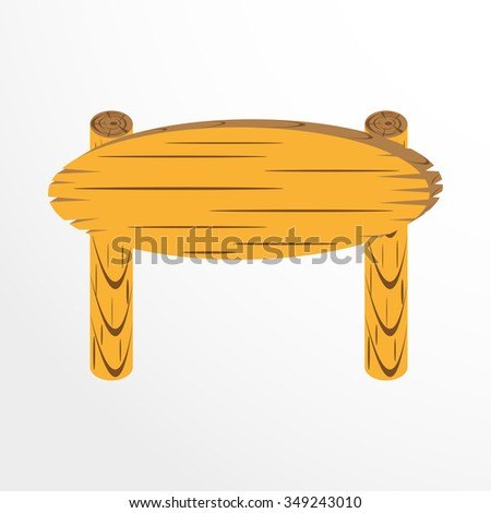 Wooden plate for inscriptions. Vector icon.