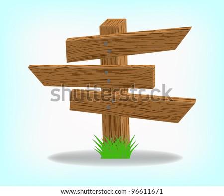 Wooden 3 pointer, 10eps. - stock vector