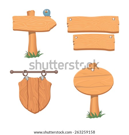 Wooden pointers and signs.  Vector illustration - stock vector