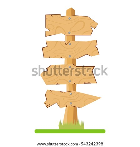 Wooden pointers, illustration wooden pointers, plaques, signboard, location, the direction of movement, route. Flat design, vector.