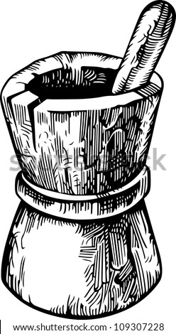 Wooden pounder - stock vector