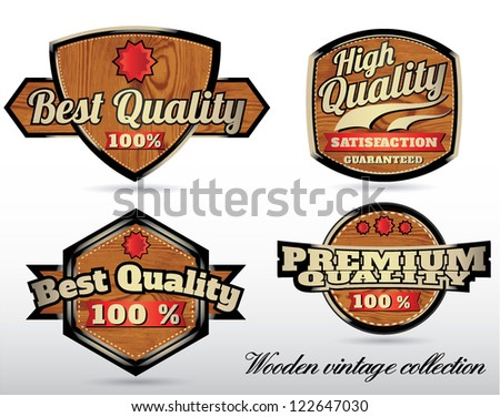 wooden quality labels in retro vintage style - stock vector
