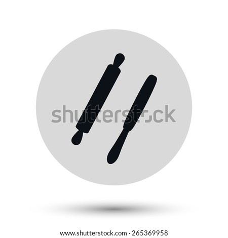 Wooden rolling pin - black vector icon on a round gray button with shadow  - stock vector