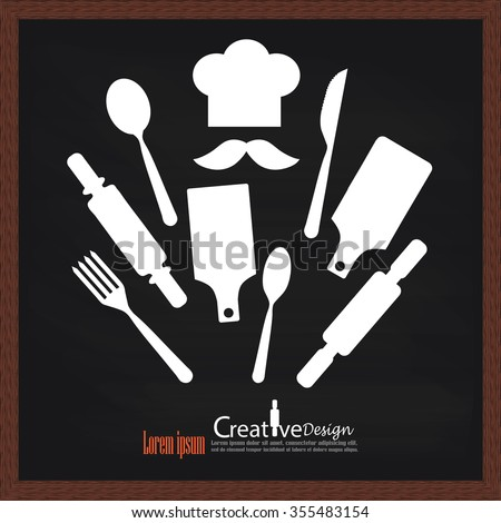 Wooden rolling pin,spoon,fork  and chef icon on chalkboard. Isolated on white background.vector illustration. - stock vector