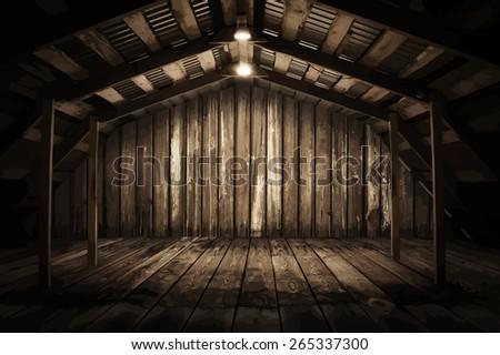 wooden room, vector - stock vector
